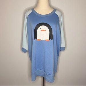 LULAORE Jane Short Sleeve Sweatshirt Blue Holiday Christmas Penguin Plus 3XL